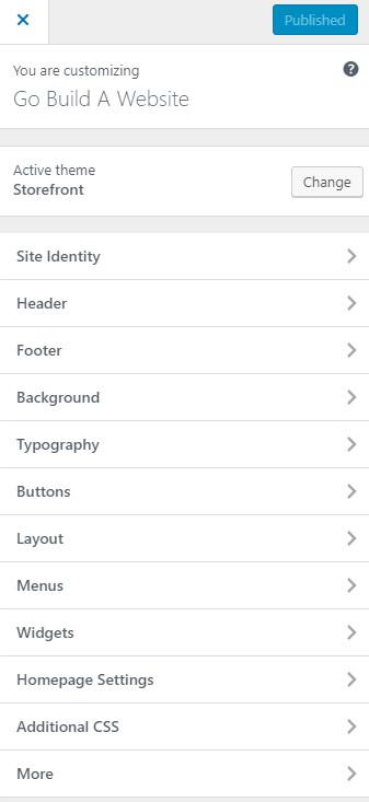 Screenshot of the WordPress customizer