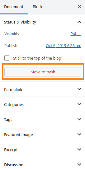 Screenshot of the 'move to trash' button in WordPress