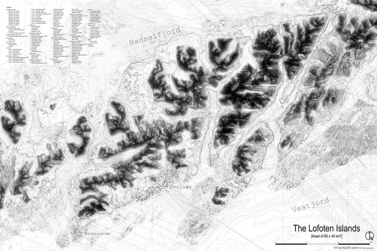 Cartography Lofoten | Area 60x40 km | Data: Kartverket.no | Editing and Mapping: Marc Ihle