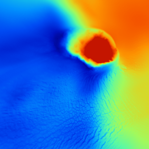 Terrain Sample Kronebreen | DTM5m | Elevation | Size of Tile: 2.5 x 2.5 km | Data Source: Norwegian Polar Institute | Image: Marc Ihle