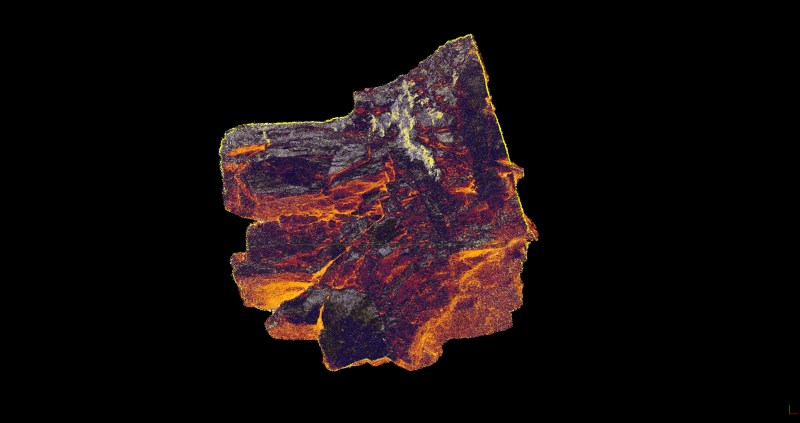 'Carbon Rock of Spitsbergen' - 3d Scan of a 20x20cm Carbon-Rock-Sample of the Mining Site at Svea on Spitsbergen, Svalbard | Organic matter exposed to Natural Forces of Pressure and Temperature | a Mirror of geologic forces| 2019 | Scan/Image: Marc Ihle