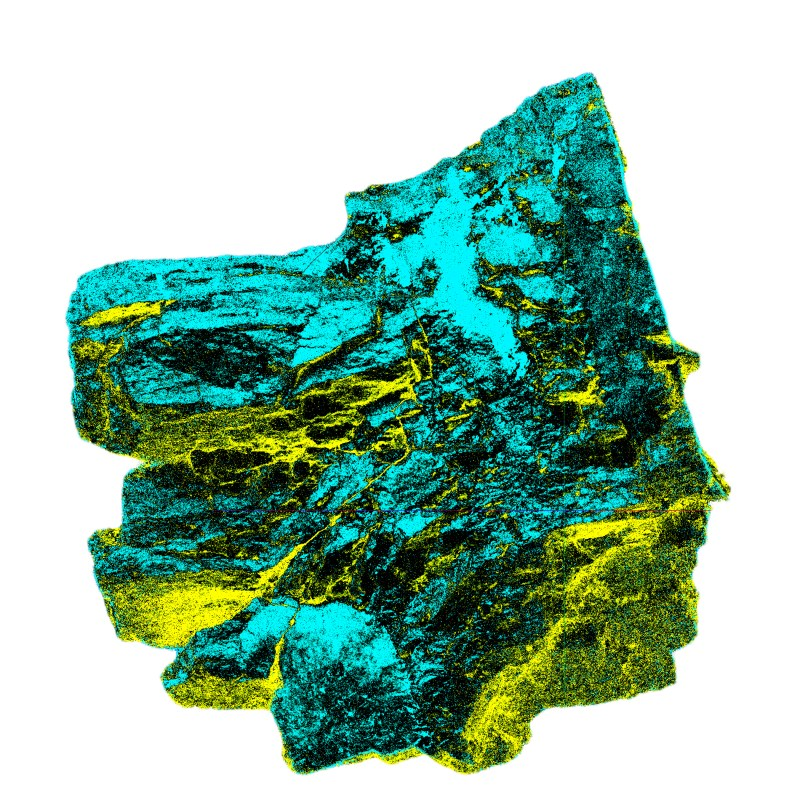 'Carbon Rock of Spitsbergen' - 3d Scan of a 20x20cm Carbon-Rock-Sample of the Mining Site at Svea on Spitsbergen, Svalbard | Organic matter exposed to Natural Forces of Pressure and Temperature | a Mirror of geologic forces | 2019 | Scan/Image: Marc Ihle