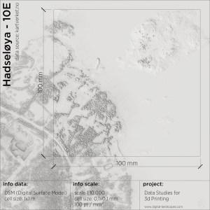Data & Resolution study for 3d-printing   Digital Surface Model of Hadseløya   Digital-Landscapes 2021