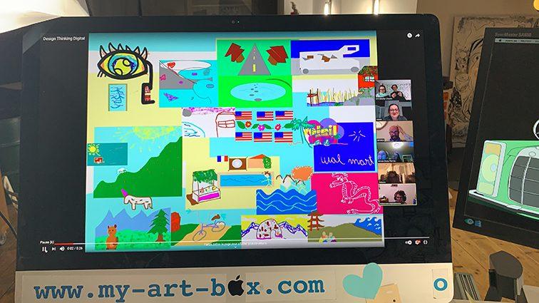 Fresque Télétravail idée animation virtuelle à distance par ana artiste et my art box