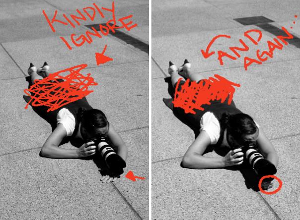 deitado no chão para evitar que a câmera balance