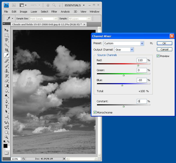 How to Create a Black and White High Contrast Sky from a Colour Image