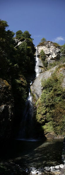 panoramic photo waterfall-nepal