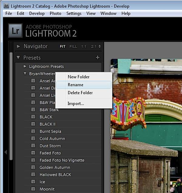 Renaming the presets folder