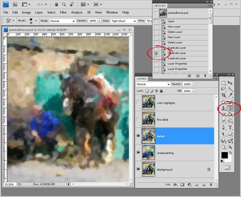 Painting a photo in photoshop click the detail layer and turn its visibility on select its contents and delete them make your brush smaller in size and now paint on this layer to bring fandeluxe Image collections