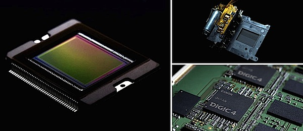 The EOS 7D sensor, shutter unit, and dual DIGIC IV processors (image credit: Canon USA)