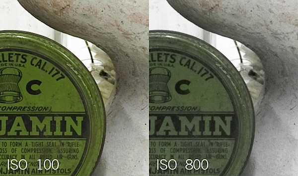 Note the saturation loss at ISO 800