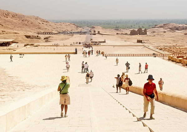 Image: Temple of Hatshepsut, Egypt: The pattern of the people is reminiscent of a Lowry painting, an...