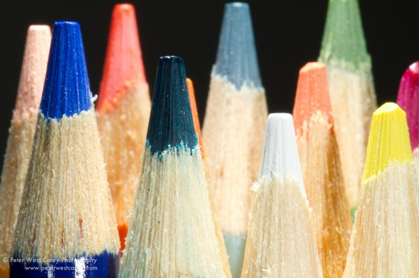 Image: Flash C held directly above pencils with +0 exp. adjustment