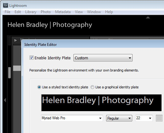 How to Personalize Lightroom with an Identity Plate