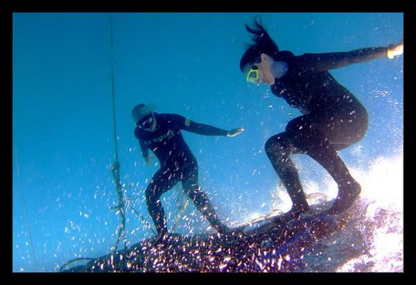 Image: Freediving fun: platform surfing - Copyright jayhem