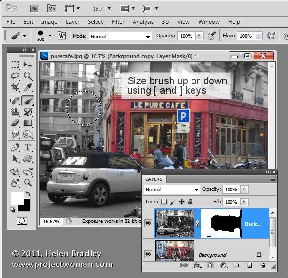 photoshop how to change brush size