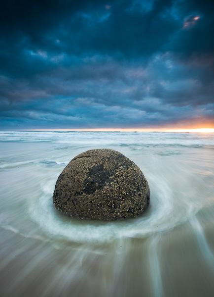 Image: Moeraki Boulder, Otago New Zealand. Long Exposure motion blur creates a dynamic tension betwe...