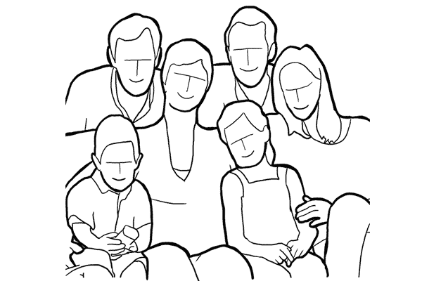 family sitting together on the couch