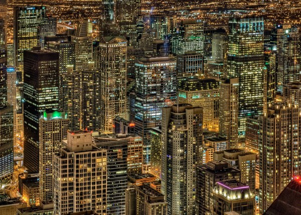 A different view: Aerial Chicago loop night from the Hancock, hdr