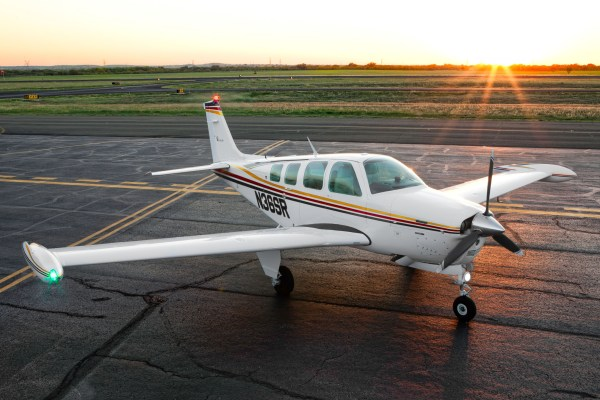 Image: A Beechcraft Bonanza at Sunset (blown highlights from the sun included)