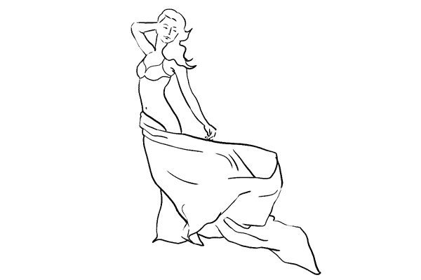 glamour pose with flowing sheet