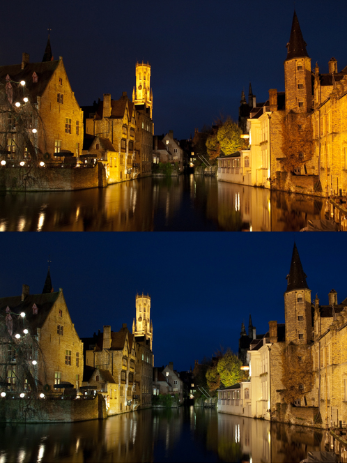 Colour temperature correction from RAW