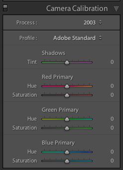 screenshot showing Lightroom Camera Calibration Settings