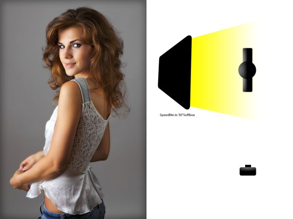 Image: This shot uses one large soft box- 50 inches- to create a soft light.
