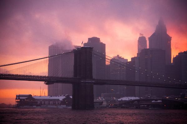 Brooklyn Bridge at Sunset, During Snowstorm