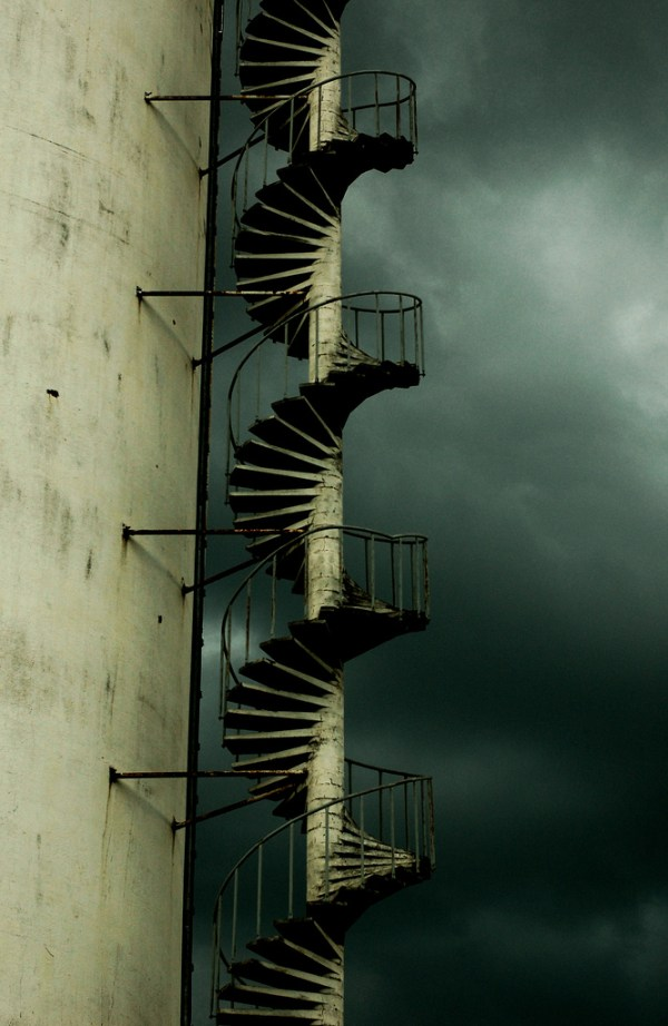 dark clouds and a staircase