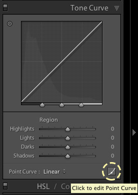 Editing the point curve in Lightroom