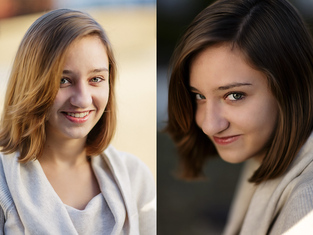 Here you can see the difference with and without a scrim. On the left is straight sunlight with no modifiers.  It's not terrible, but harsher than I wanted on her face. I turned her around to face the sun, and used a scrim to soften the light on her. The result, in my eyes, was much more pleasing. EOS-1D X, EF 85mm f/1.2L II. Exposure for the image without the scrim was 1/1000, f/1.2, ISO 100 with +1 exposure compensation.  For the image on the right, 1/3200, ISO 100, f/1.2.