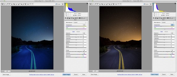In the screen shot on the left, I adjusted the white balance to render the sky the way I wanted it- that deep indigo we normally see.  In the shot on the right, I adjusted the white balance so the road looked the way I remembered it.
