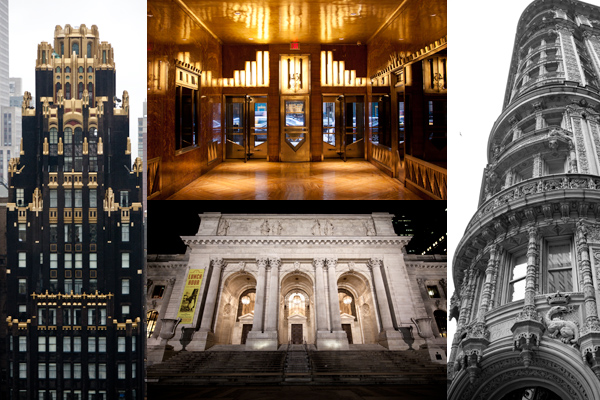 American Standard Building, Chrysler Building Lobby, NY Public Library, The Alwyn Court