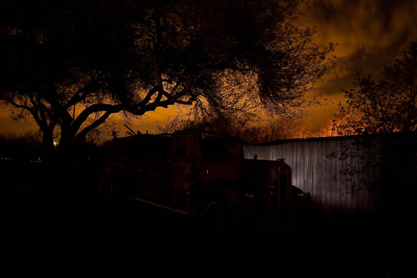 Lighting the fence behind the truck to give it separation & Light Painting Part One - the Photography azcodes.com