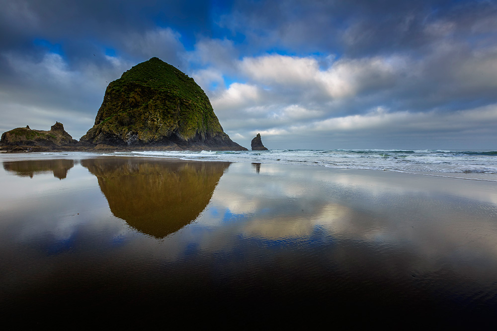Because Haystack Rock stood above the horizon line, and was quite a bit darker than the sky behind it, I had to use a 3-stop, soft-edged ND grad filter here. 1/20, f/16, ISO 100. EOS 5D Mark III with EF 16-35mm f/2.8L II.
