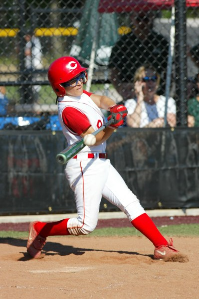 Batters are best captured from the opposite side of the plate they hit from, so right handed batters are best photographed from the first base side, and left handers from third.
