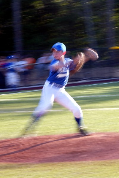 Panning on the pitcher's motion can make for a unique image.