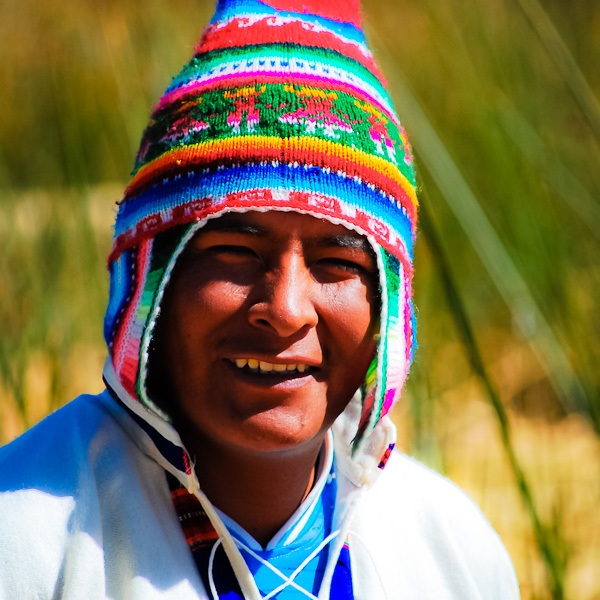 """Peruvian man. """"Can I take your picture?"""". """"It's my pleasure!""""."""