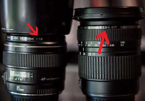 maximum aperture numbers on lenses