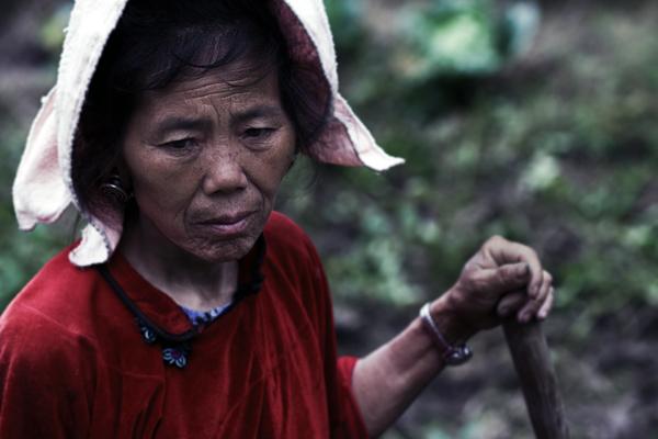 Woman in field A