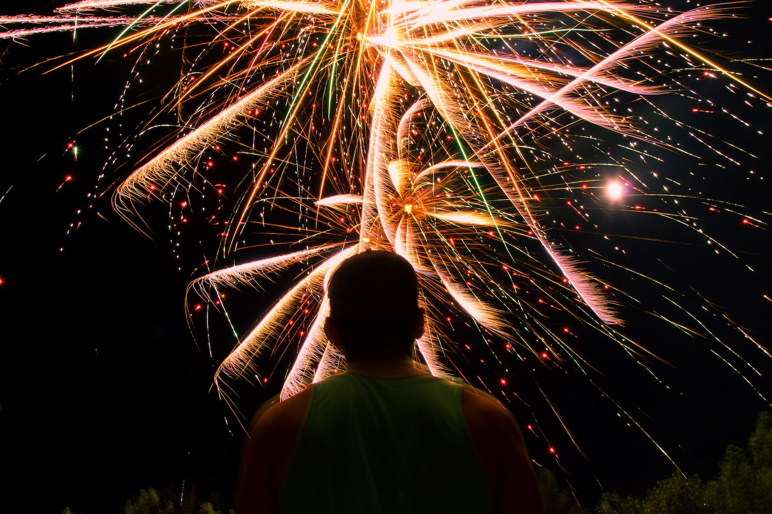 zoomed in fireworks photography