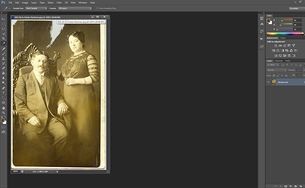 Step 1.  Open the image in Photoshop and assess the damage.