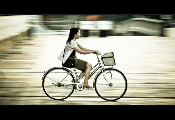 Horizontals: Girl on a bicycle