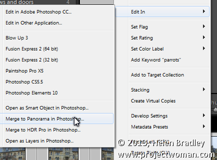 Sending Panorama Sequences from Lightroom to Photoshop 2