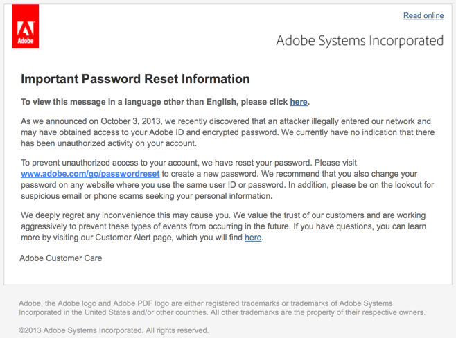 Adobe Password Resets Definite Cause For Concern