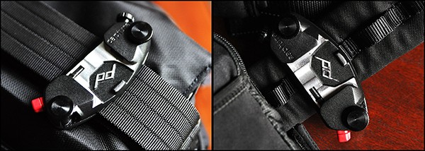 On the left, Capture attached to the shoulder strap of a Think Tank City Walker 30 camera bag. On the right, attached to a Think Tank Pro Speed Belt.