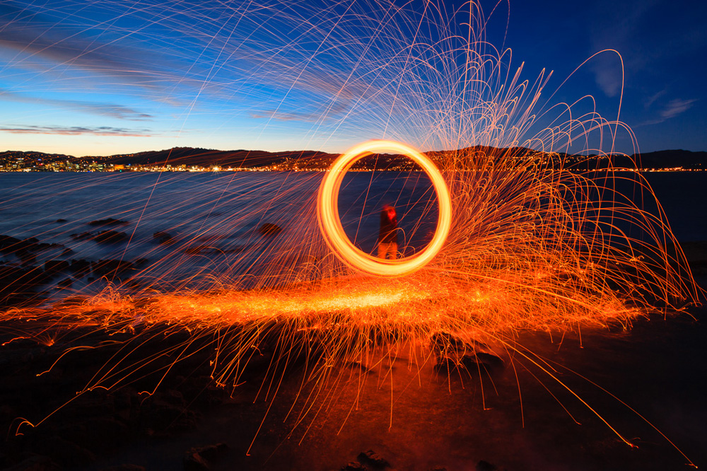 Playing With Fire Steel Wool Spinning In The Landscape