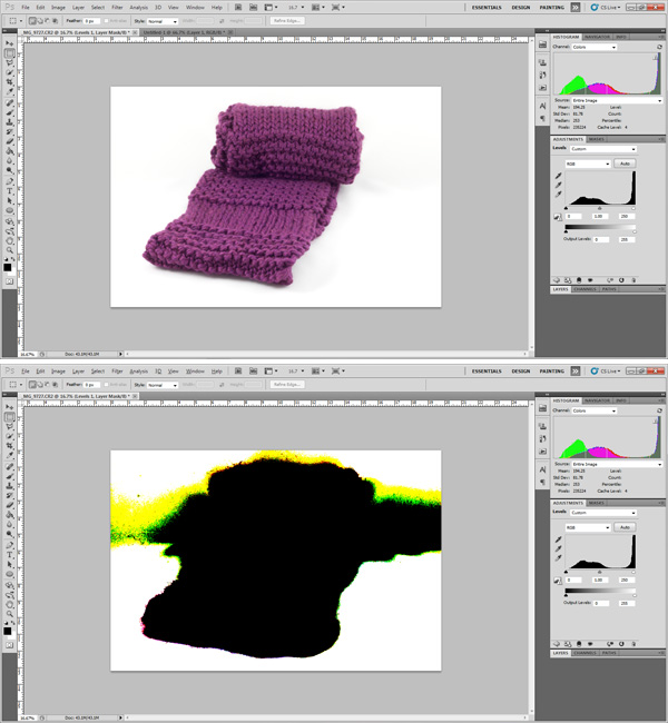 scarf, photography, Photoshop, post-processing, highlight clipping,