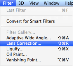 Photoshop filter lens correction vignette
